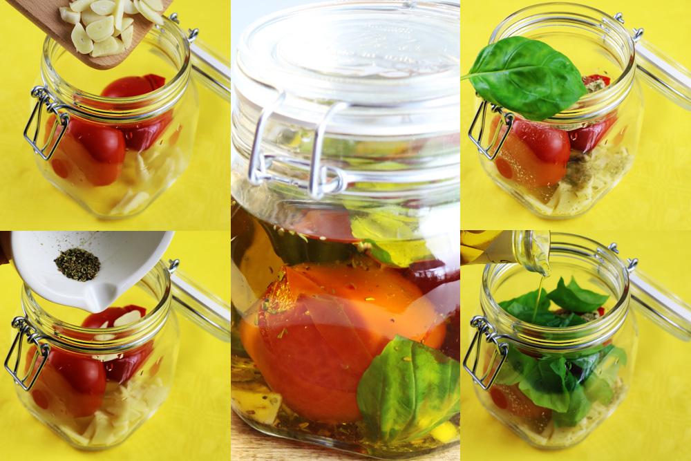 frische Tomaten in Öl einlegen