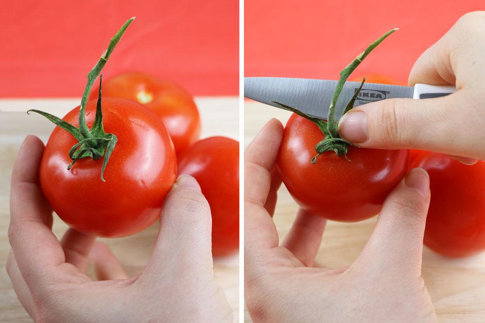 Tomaten vom Strauch lösen