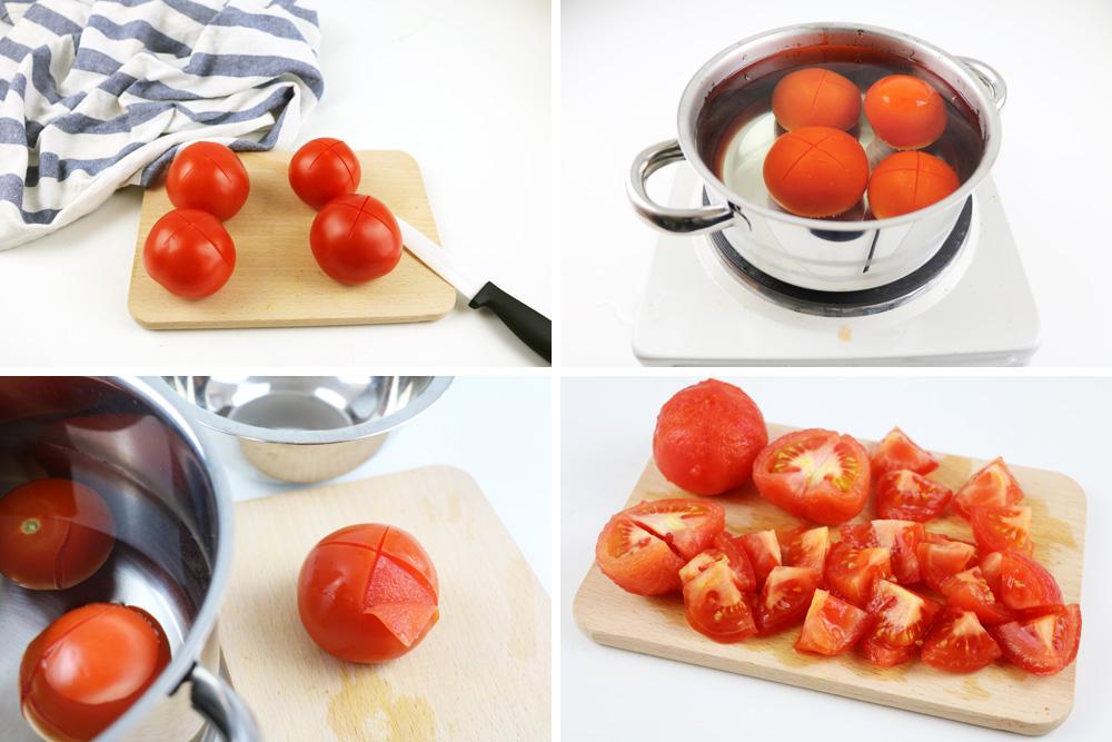 Tomaten blanchieren, häuten, würfeln