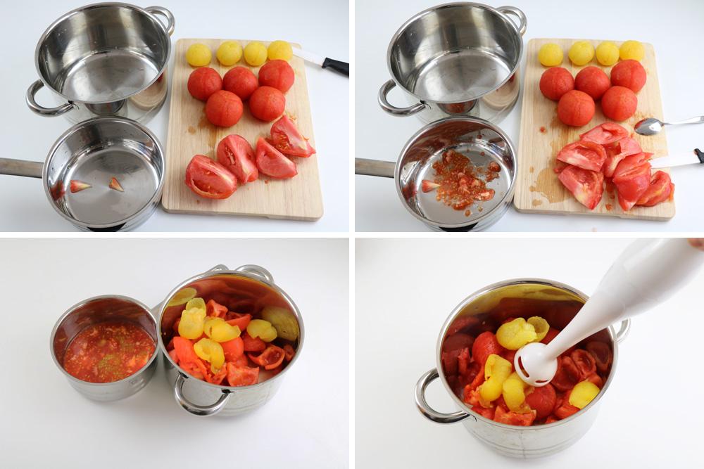 Tomaten entkernen, zerschneiden
