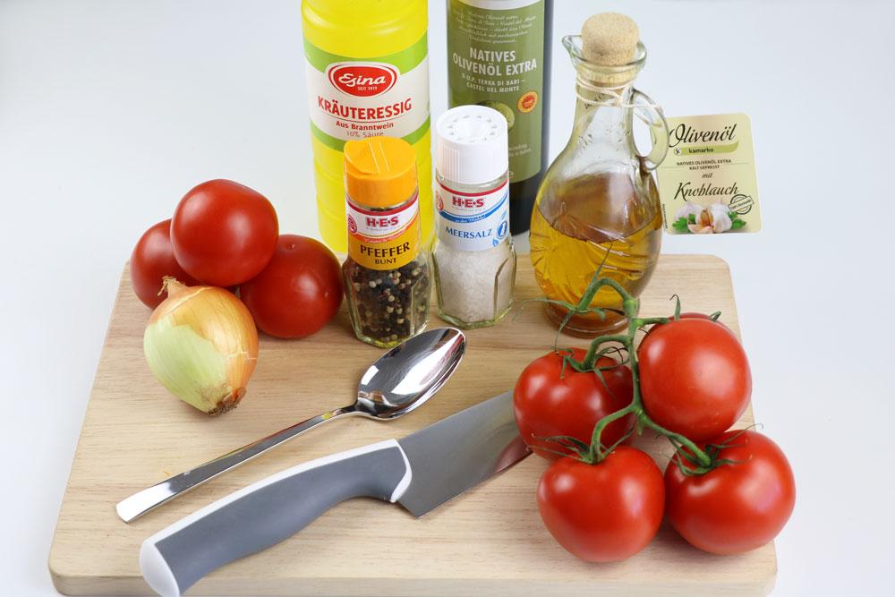 Zutaten für Tomatensalat-Basis-Rezept